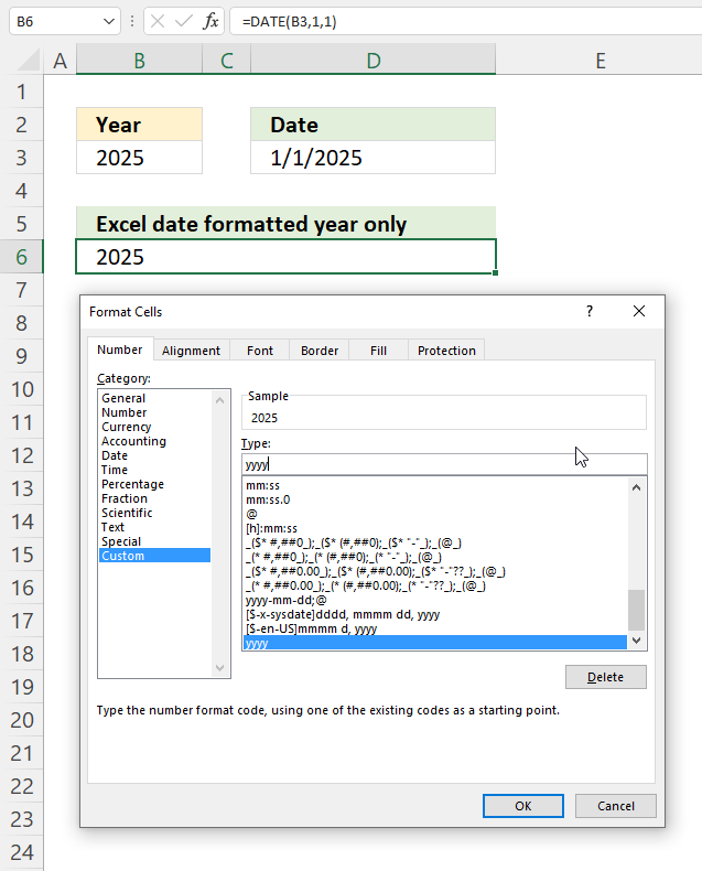 YEAR function convert year to Excel date1
