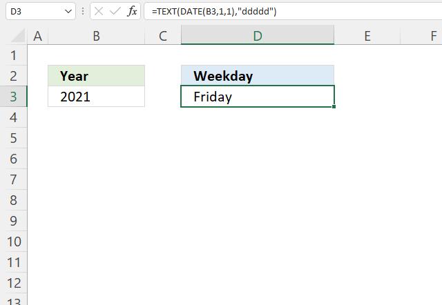 YEAR function year begins on weekday