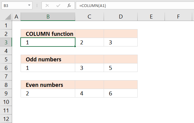 COLUMN function sequence