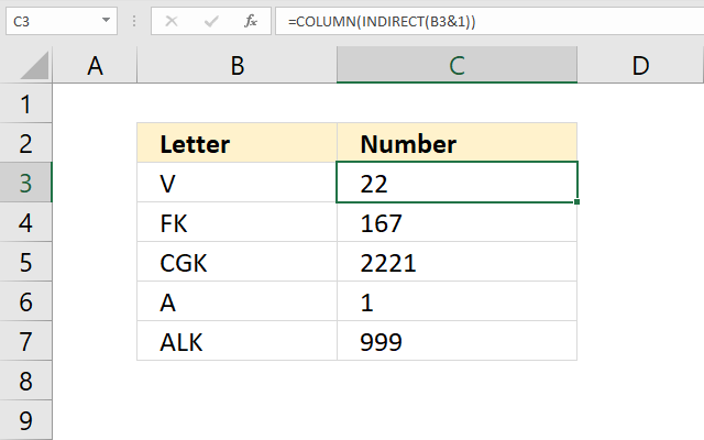 Convert column letter to column number