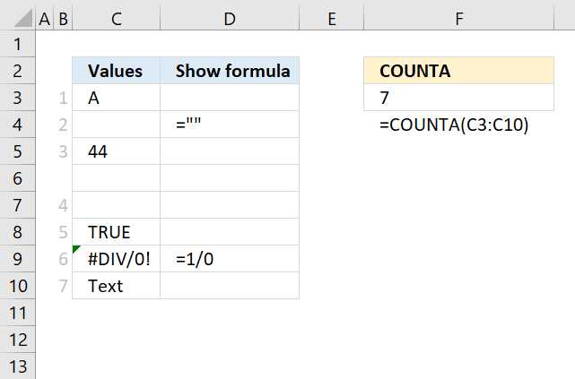 How to use the COUNTA function