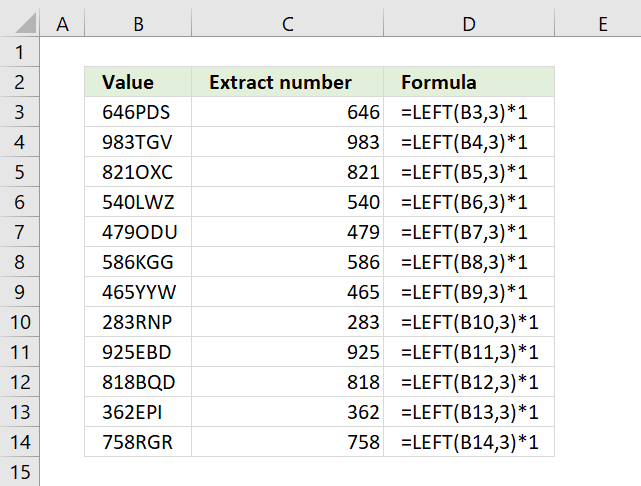 LEFT function for numbers