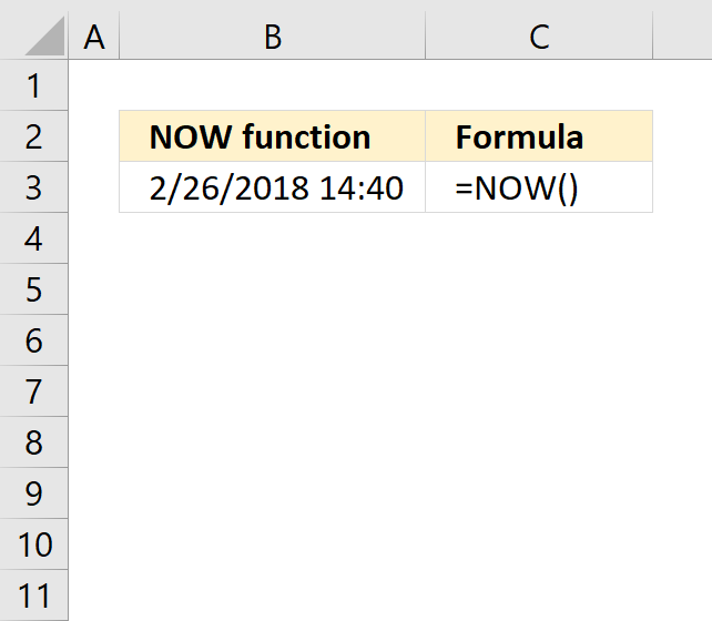how to use now function in excel
