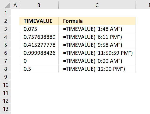 How to use the TIMEVALUE function
