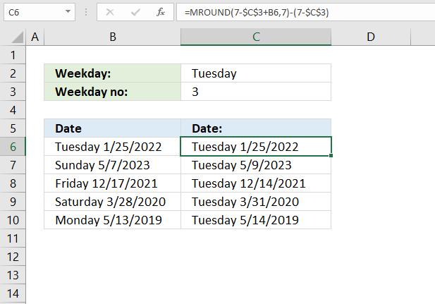 MROUND function nearest given weekday