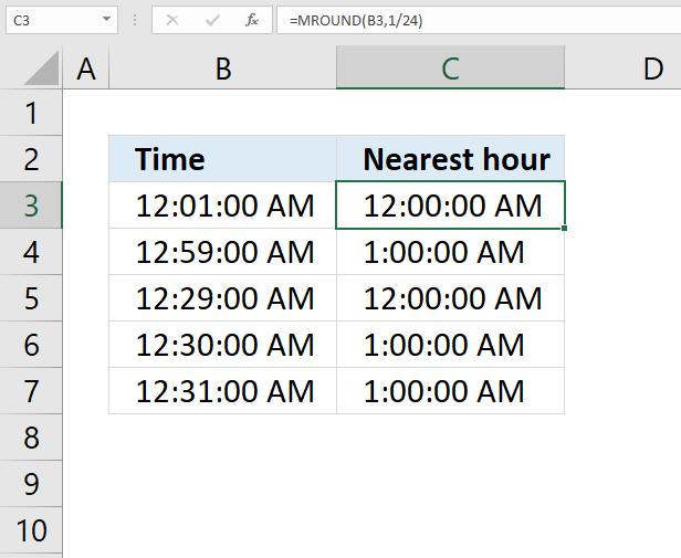MROUND function nearest hour