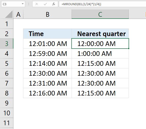 MROUND function nearest quarter of an hour