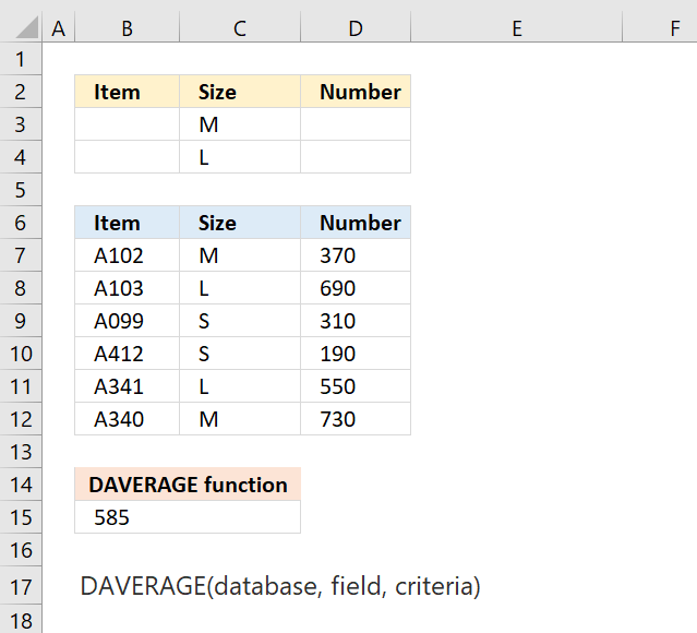 How to use the DAVERAGE function