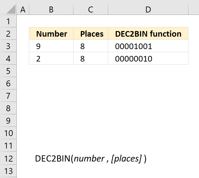 How to use the DEC2BIN function