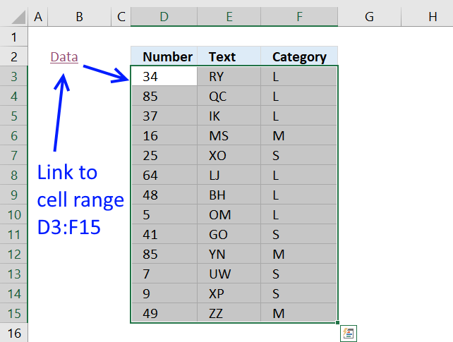 How to quickly select a cell range