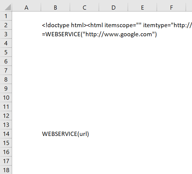 How to use the WEBSERVICE function