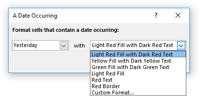 Highlight a date occuring [Conditional formatting]