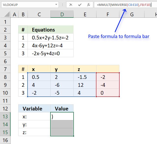 Solve linear equations formulas3