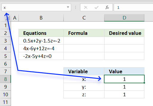Solve linear equations name bar
