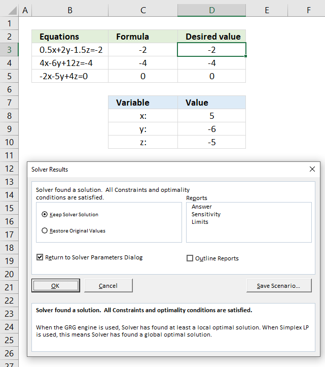 Solve linear equations solver