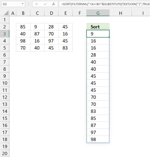 SORT function sort a multicolumn range