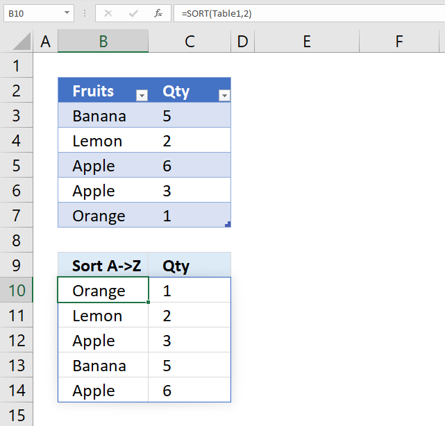 sort function Excel Table 1