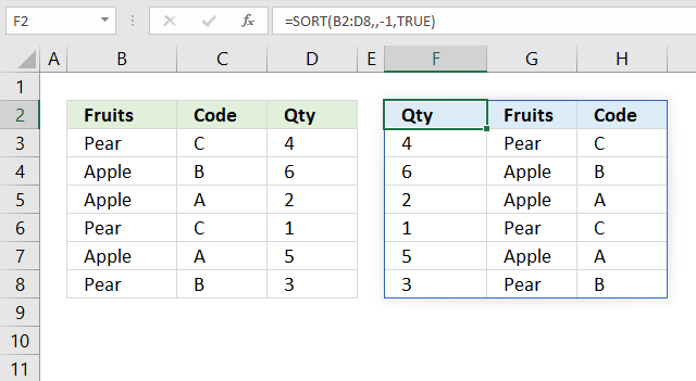 sort function Sort by column header from z to a