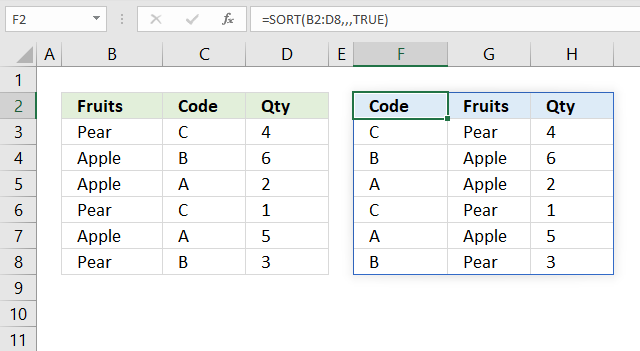 sort function Sort by column header