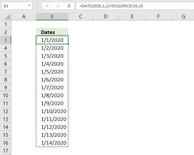 SEQUENCE function dates in sequence