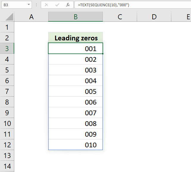 SEQUENCE function leading zeros