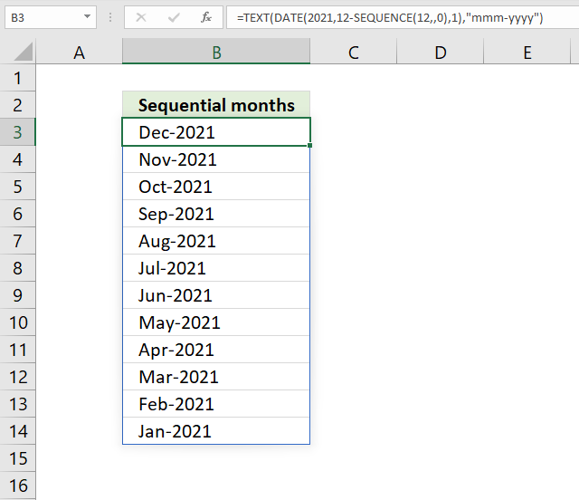 SEQUENCE function months in sequence