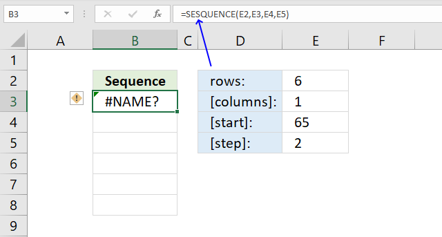 SEQUENCE function name error