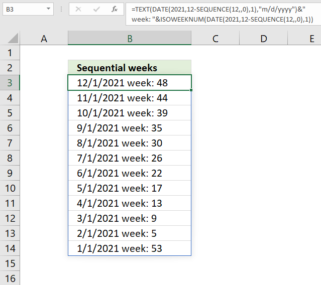 SEQUENCE function weeks in sequence 1