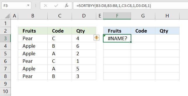 sortby function name error