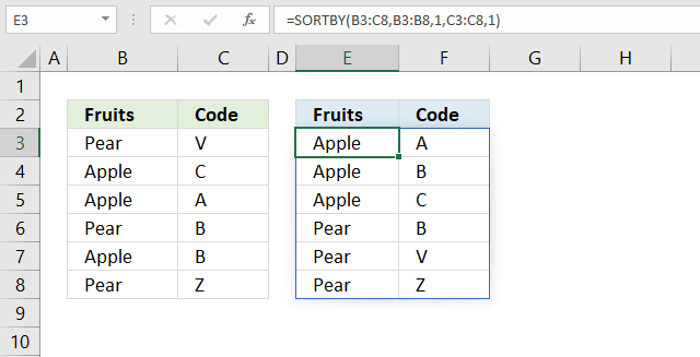 sortby function sort A to Z 1