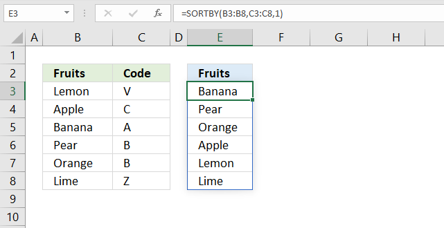 sortby function sort by another column