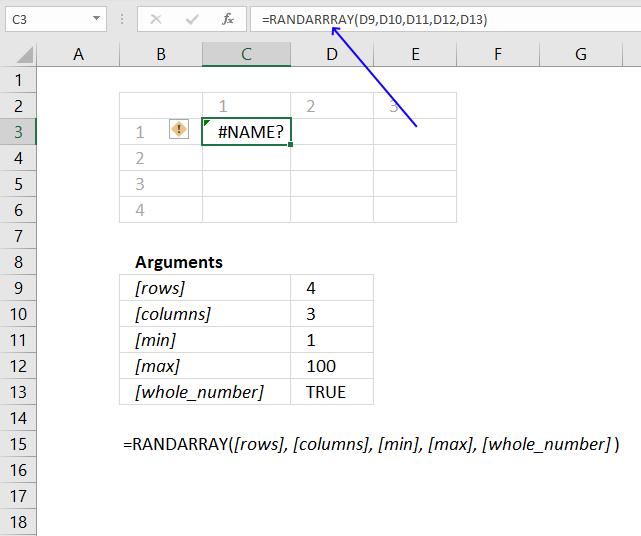 RANDARRAY function name error