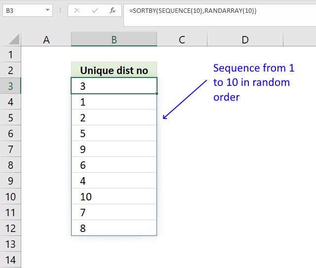 RANDARRAY function unique distinct numbers in random order