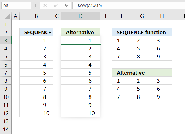 SEQUENCE function alternative