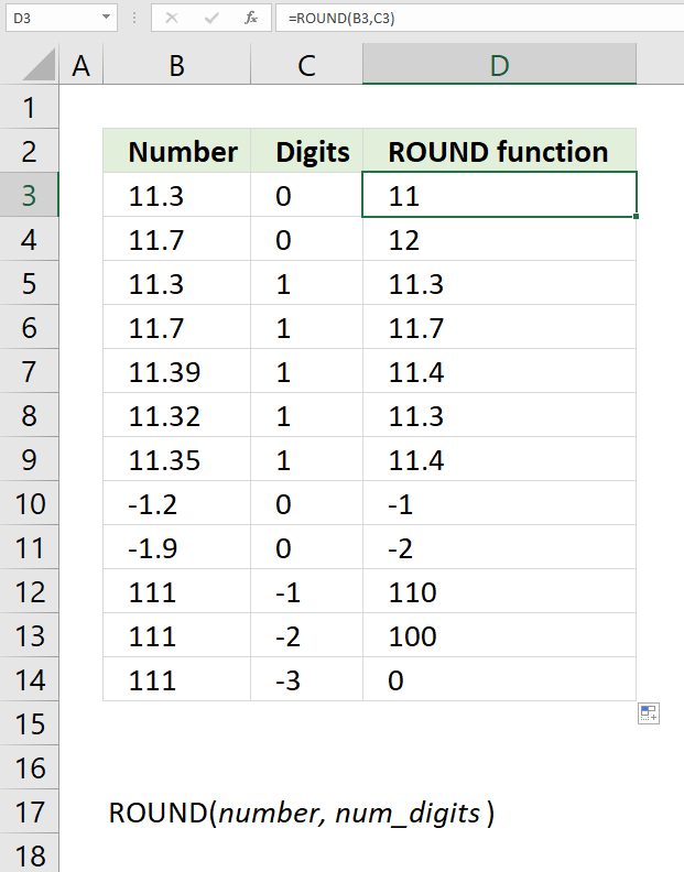 How to use the ROUND function