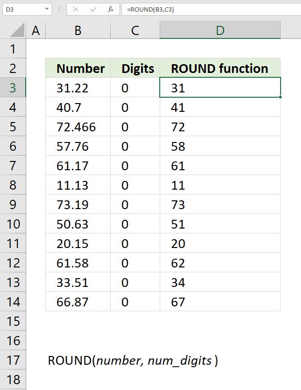 ROUND function nearest integer