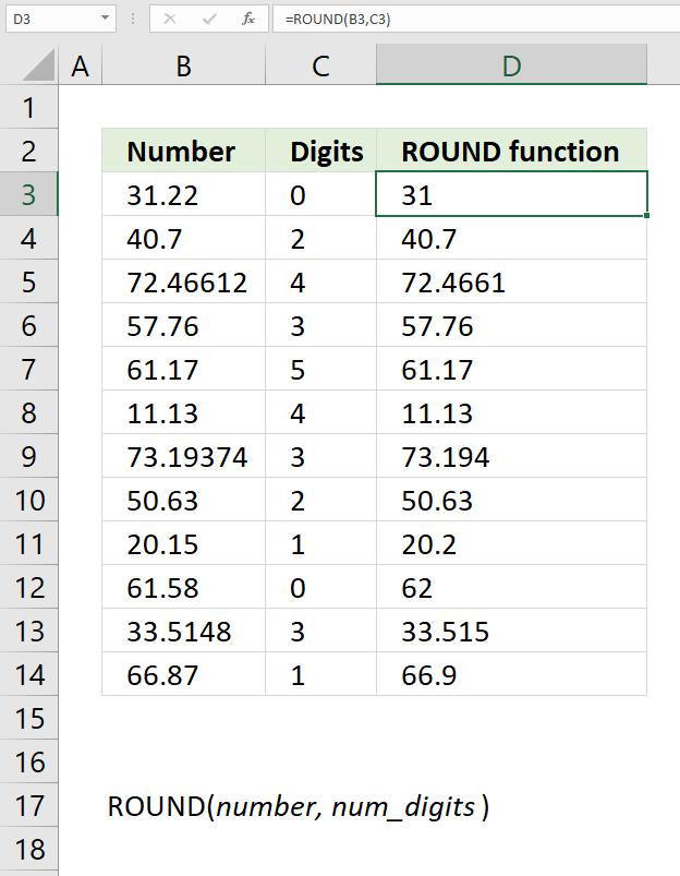 ROUND function round to n decimals