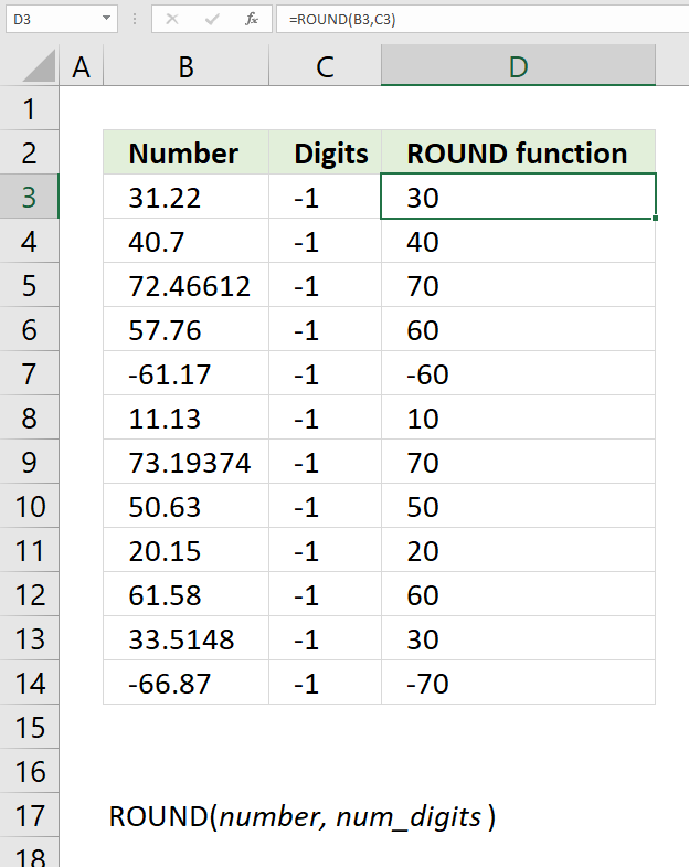 ROUND function round to nearest multiple of 10