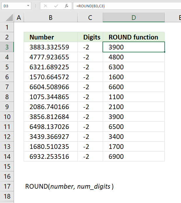 ROUND function round to nearest multiple of 100