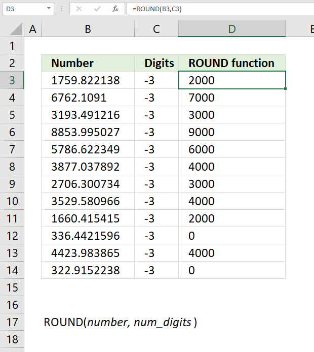 ROUND function round to nearest multiple of 1000
