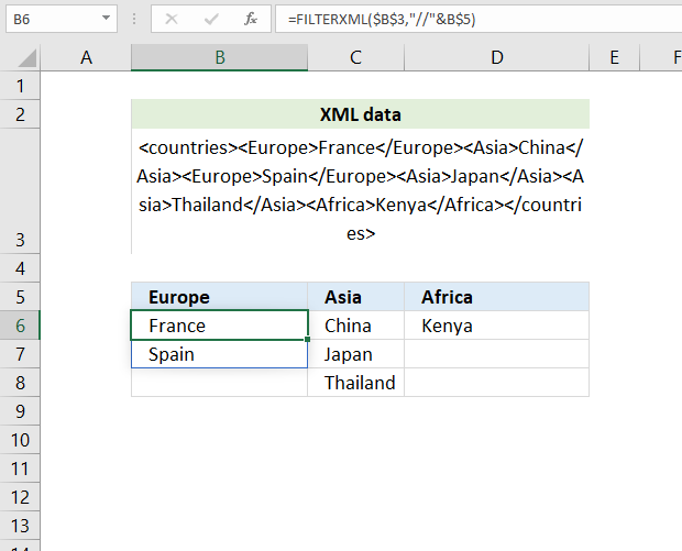 How to use the FILTERXML function columns