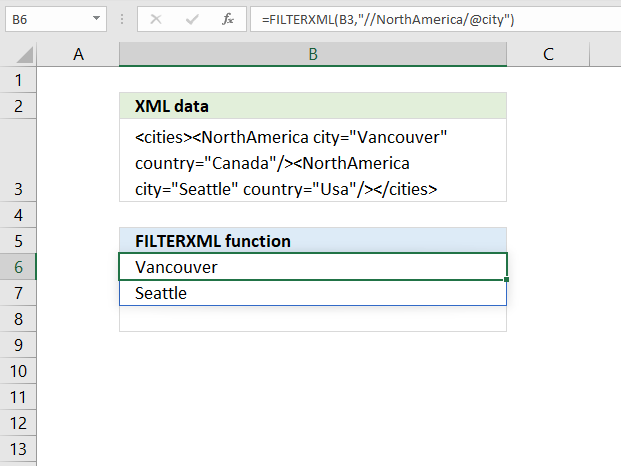 How to use the FILTERXML function extract attribute