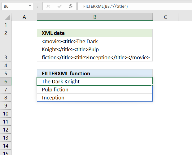 How to use the FILTERXML function