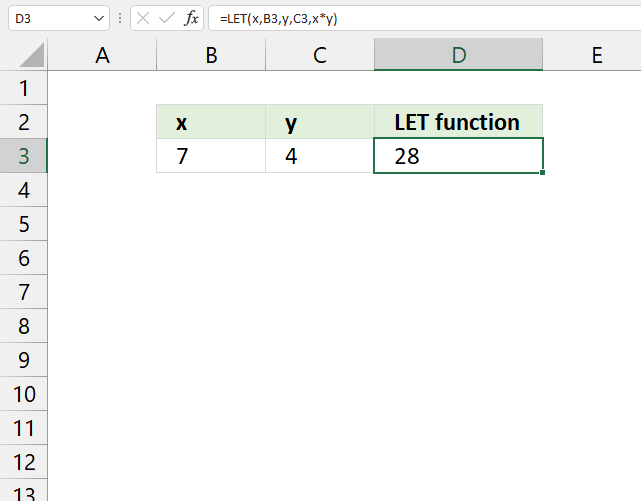 How to use the LET function