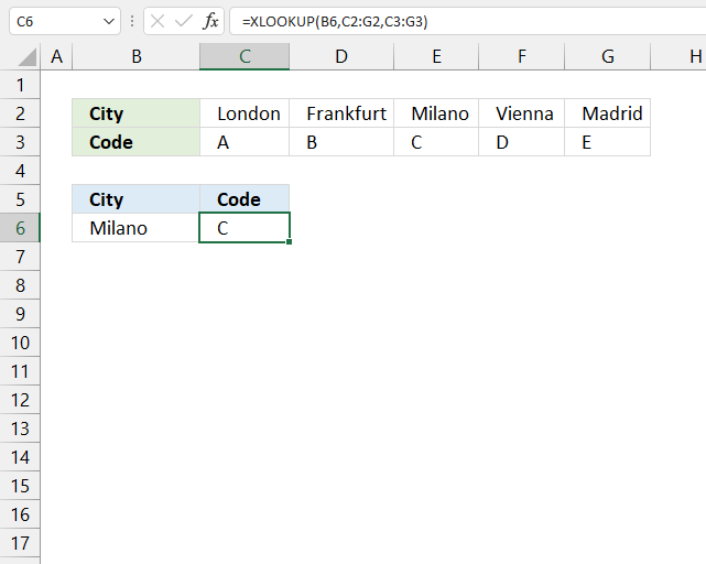 How to use the XLOOKUP function horizontal searh