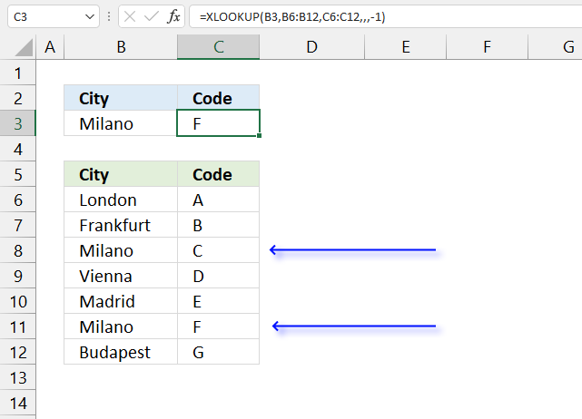How to use the XLOOKUP function return last value