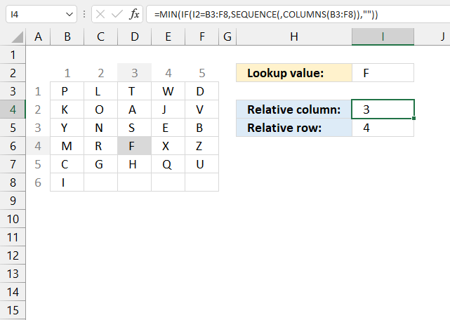 How to use the XMATCH function relative position of column and row