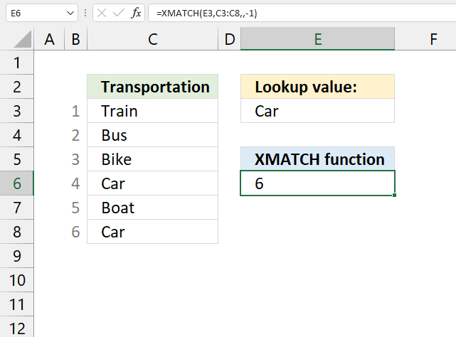 How to use the XMATCH function search bottom to top