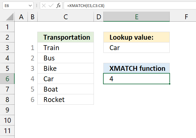 How to use the XMATCH function1